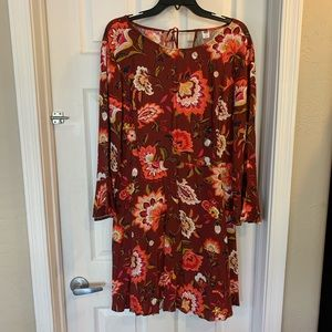 Old Navy Maroon Floral Dress with Tie Back